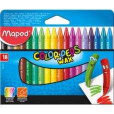 Мелки восковые COLOR PEPS Wax Crayons, 18 цв.