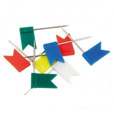 Кнопки-гвоздики цветные флажки, 30 шт, пласт конт