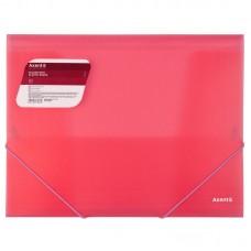 Папка на резинках, A4, прозрачная красная