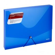 Папка на резинках объемная, A4, прозрачная синяя