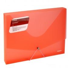 Папка на резинках объемная, A4, прозрачная красная