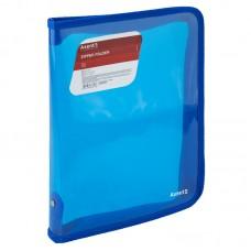 Папка объемная на молнии B5, прозрачная синяя