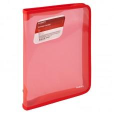 Папка объемная на молнии B5, прозрачная красная