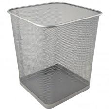 Корзина для бумаг квадратная 270x300 мм метал., серебристая