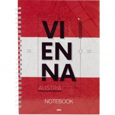 Блокнот на спирали твердая обл., А5, 96 л. Vienna
