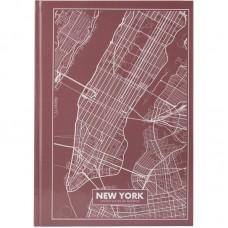 Книга записная А4 Maps New York, 96 л., кл., розово-корич.