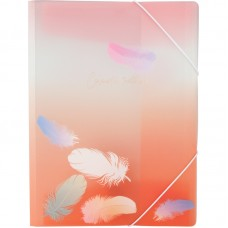 Папка на резинках А4+, Colourful Feather 04