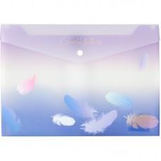 Папка на кнопке А4+, Colourful Feather 03
