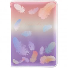 Папка объемная на молнии А4+, Colourful Feather 02