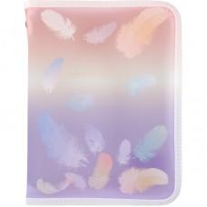Папка объемная на молнии А5+, Colourful Feather 02
