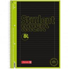 Колледж-блок А4 Premium, лин. 80 л., Black Neon, салат.