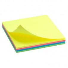 Блок бумаги с липким слоем 75x75 мм, 100 л., неон.