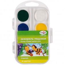 """Краски акв. """"Пчёлка"""", пласт.упак., б/к, 8 цв."""