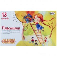 """Пластилин """"Оранжевое солнце"""", стек,  220 г, 18 цв"""