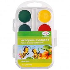 """Краски акв. """"Пчелка"""", пласт.упак., б/к, 16 цв."""